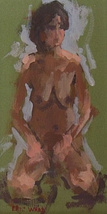 Eric Ward Original Oil Painting Portrait Of A Nude Woman